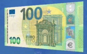 The New 100 Euro Note in circulation in May 2019