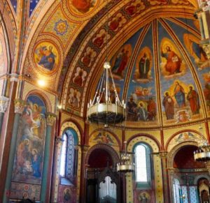 Richly decorated walls at Saint Caprais Cathedral Agen